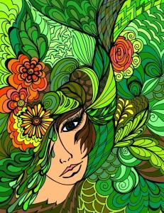 Femme dans les feuilles