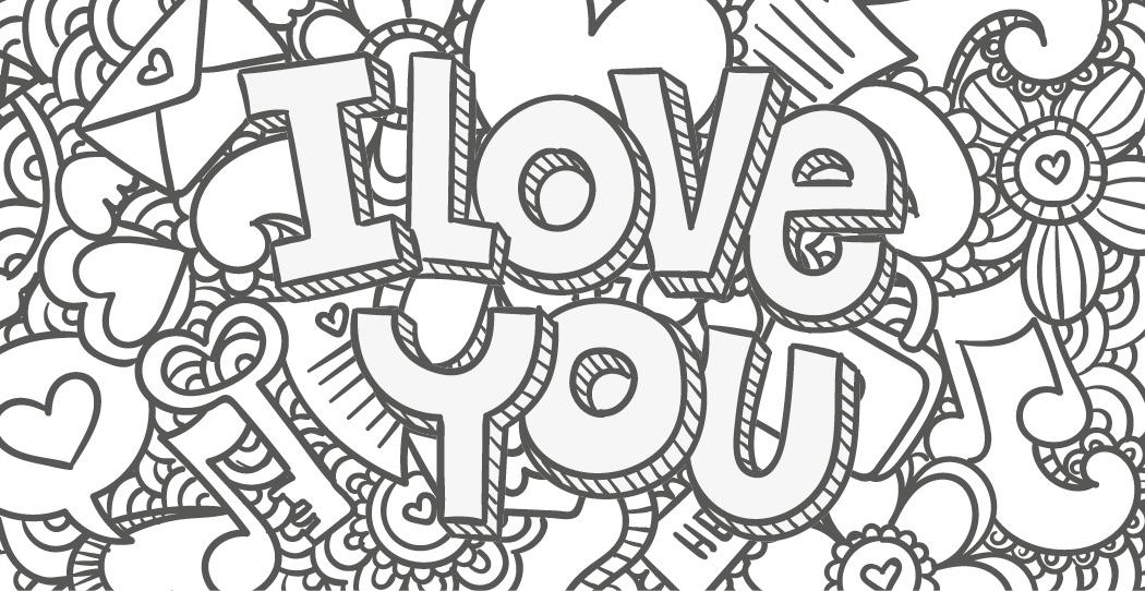 Coloriage Gratuit, I Love You 2 Mai