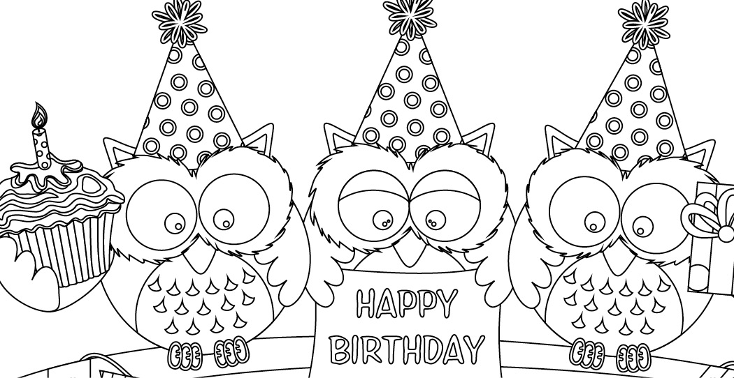 Coloriage gratuit hiboux anniversaire 18 juillet - Dessin a imprimer anniversaire ...