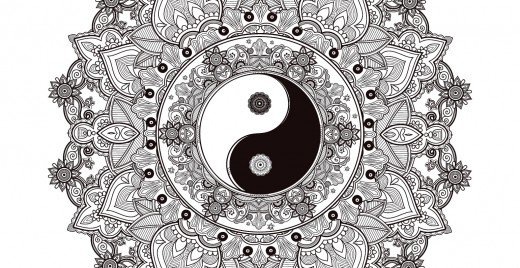 Coloriage gratuit, mandala zen, yin yang