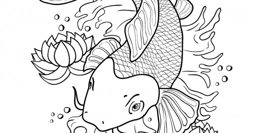 Coloriage gratuit, poisson japonais Koi