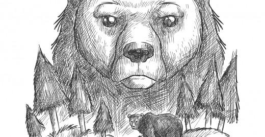 Coloriage gratuit, famille ours tons de gris