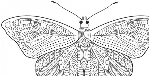 Coloriage gratuit, papillons motifs doodle