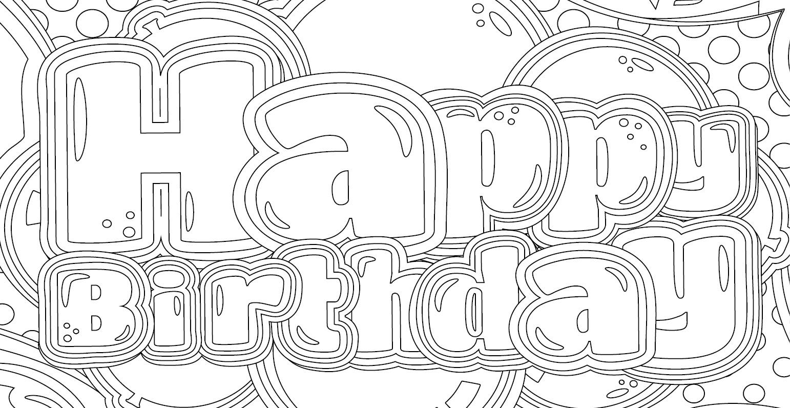 Coloriage gratuit, Joyeux Anniversaire - Artherapie.ca
