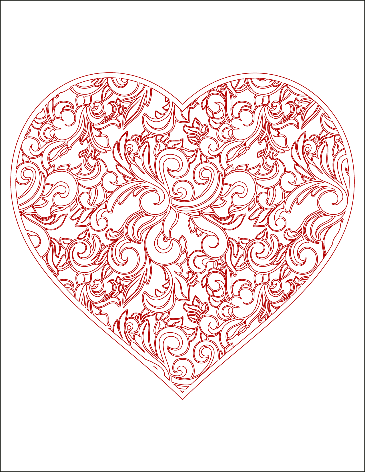 Coloriage gratuit, coeur doodle rouge