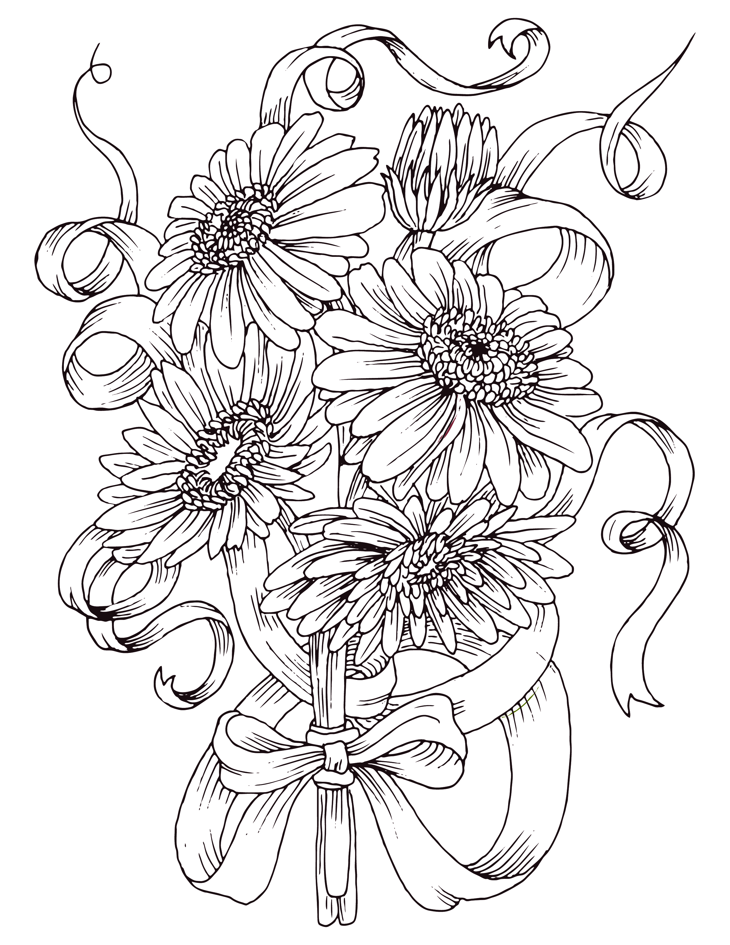coloriage gratuit bouquet de fleurs marguerite. Black Bedroom Furniture Sets. Home Design Ideas