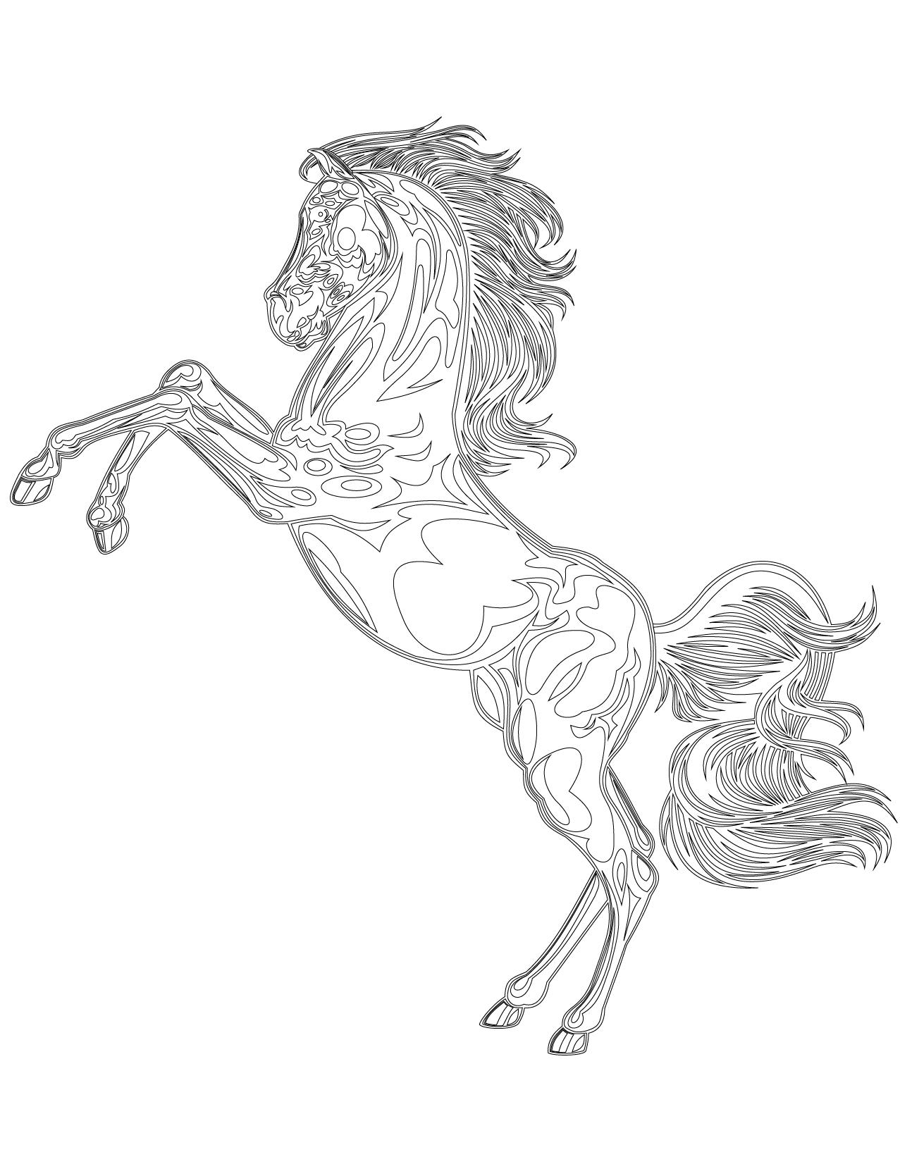 L gant coloriage de10 chevaux en trpeau - Coloriage cheval sauvage ...