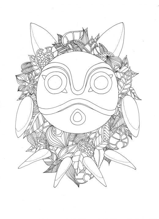 Coloriage gratuit par Chocobo, Totoro feuillus