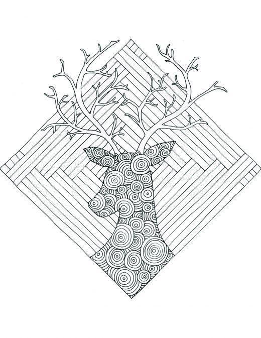 Coloriage gratuit par Chocobo, chevreuil géométrie