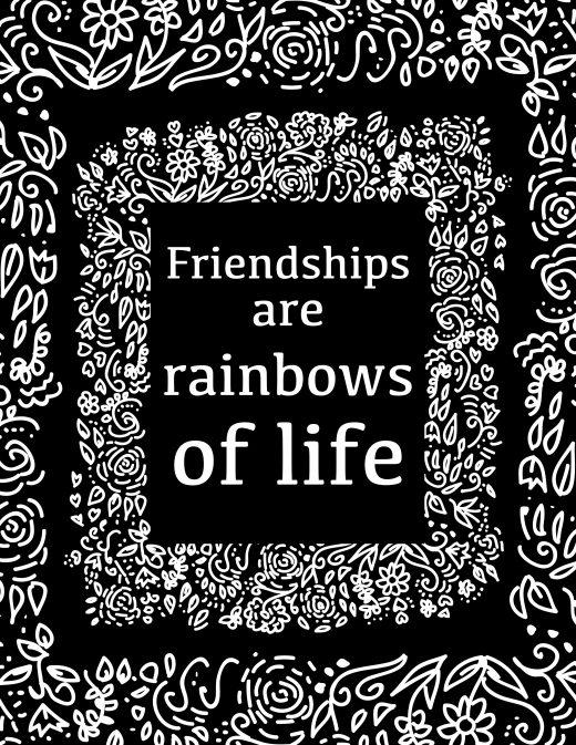 Coloriage gratuit, amitié arc-en-ciel de la vie