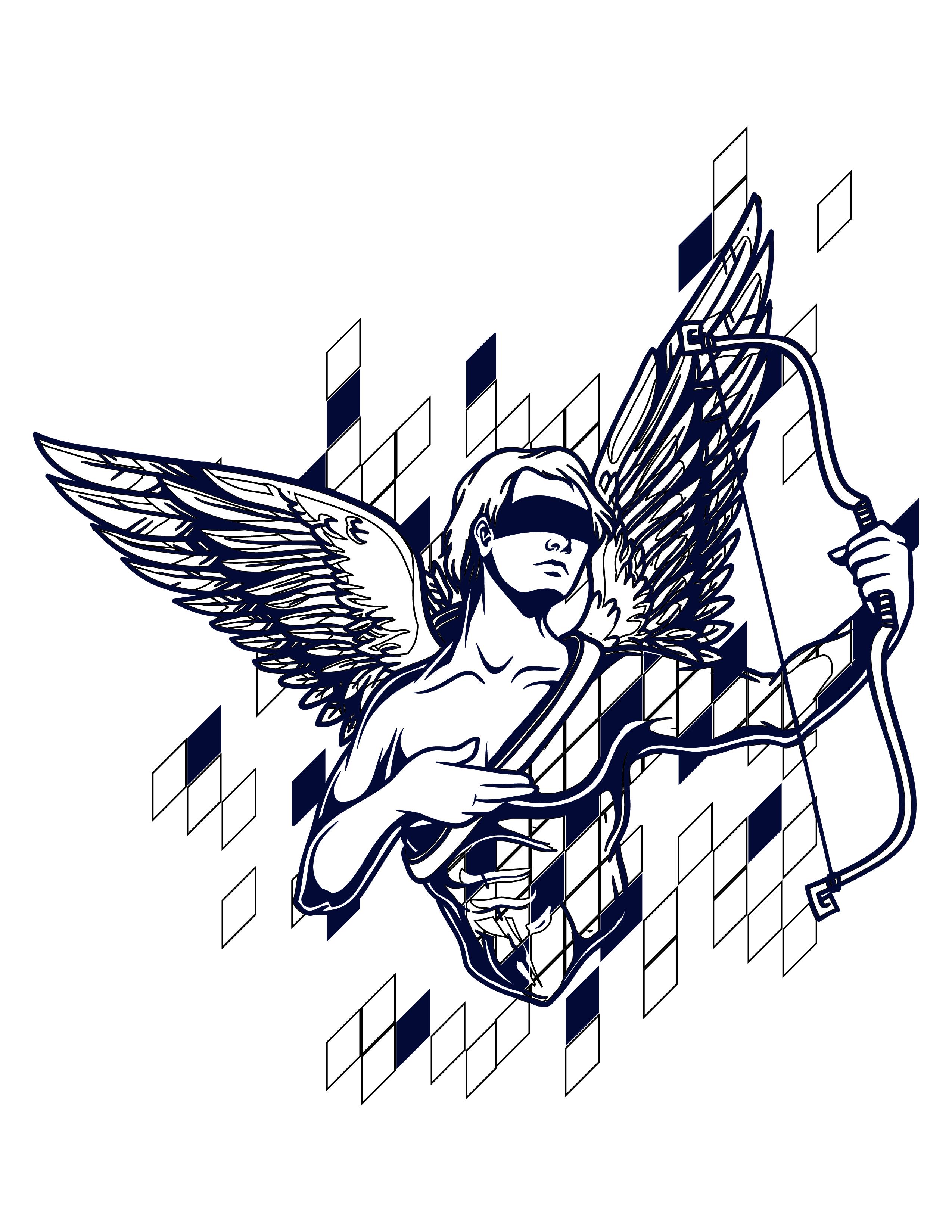 Coloriage gratuit astrologie cupidon - Dessin de cupidon ...