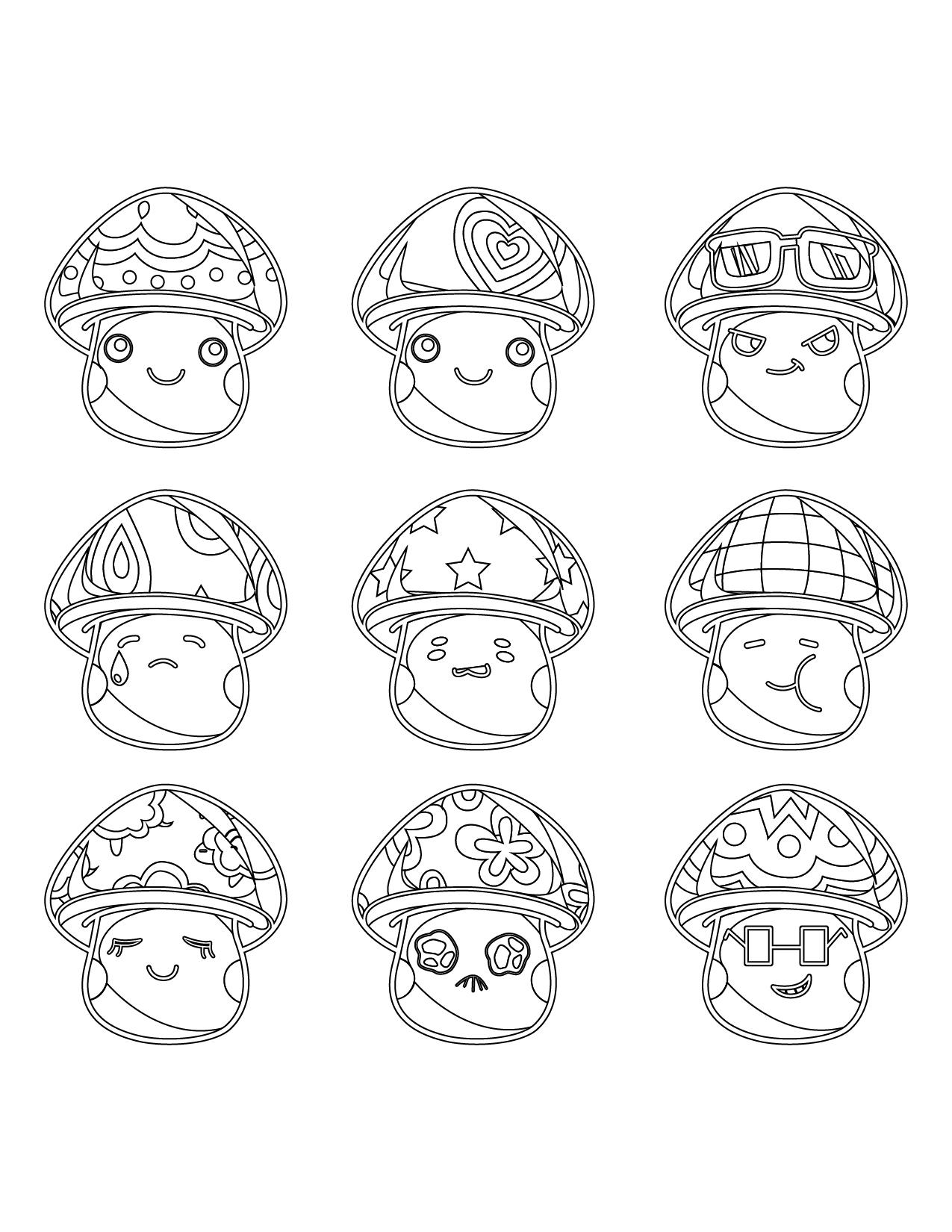 Coloriage à imprimer gratuit, champignons cartoon - Artherapie.ca