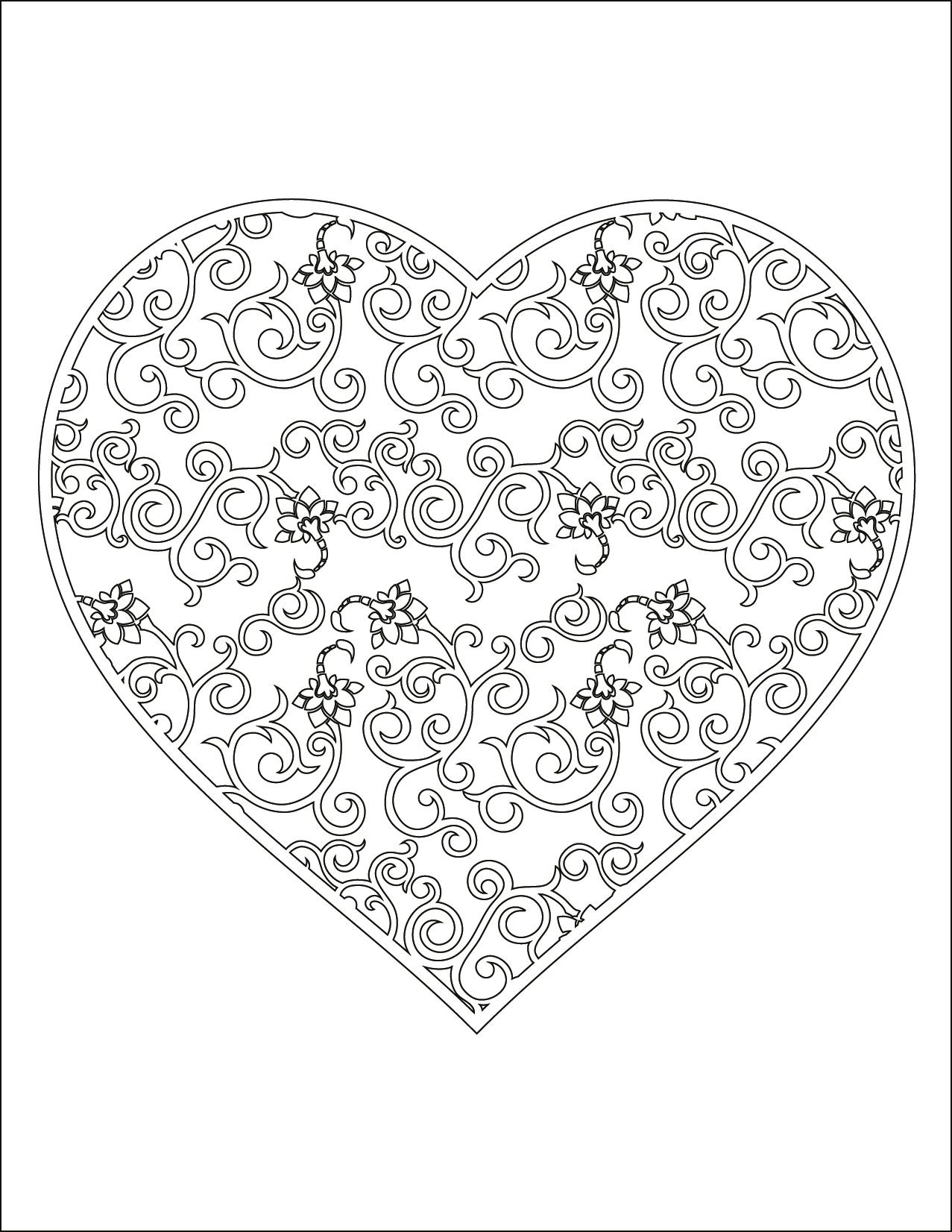 Coloriage à imprimer gratuit, coeur doodle - Artherapie.ca