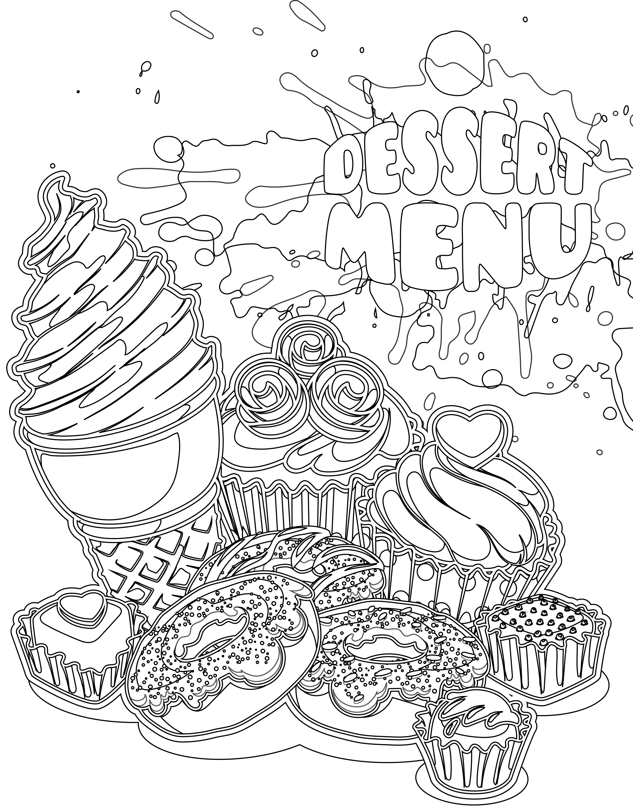 coloriages adulte gratuit menu dessert
