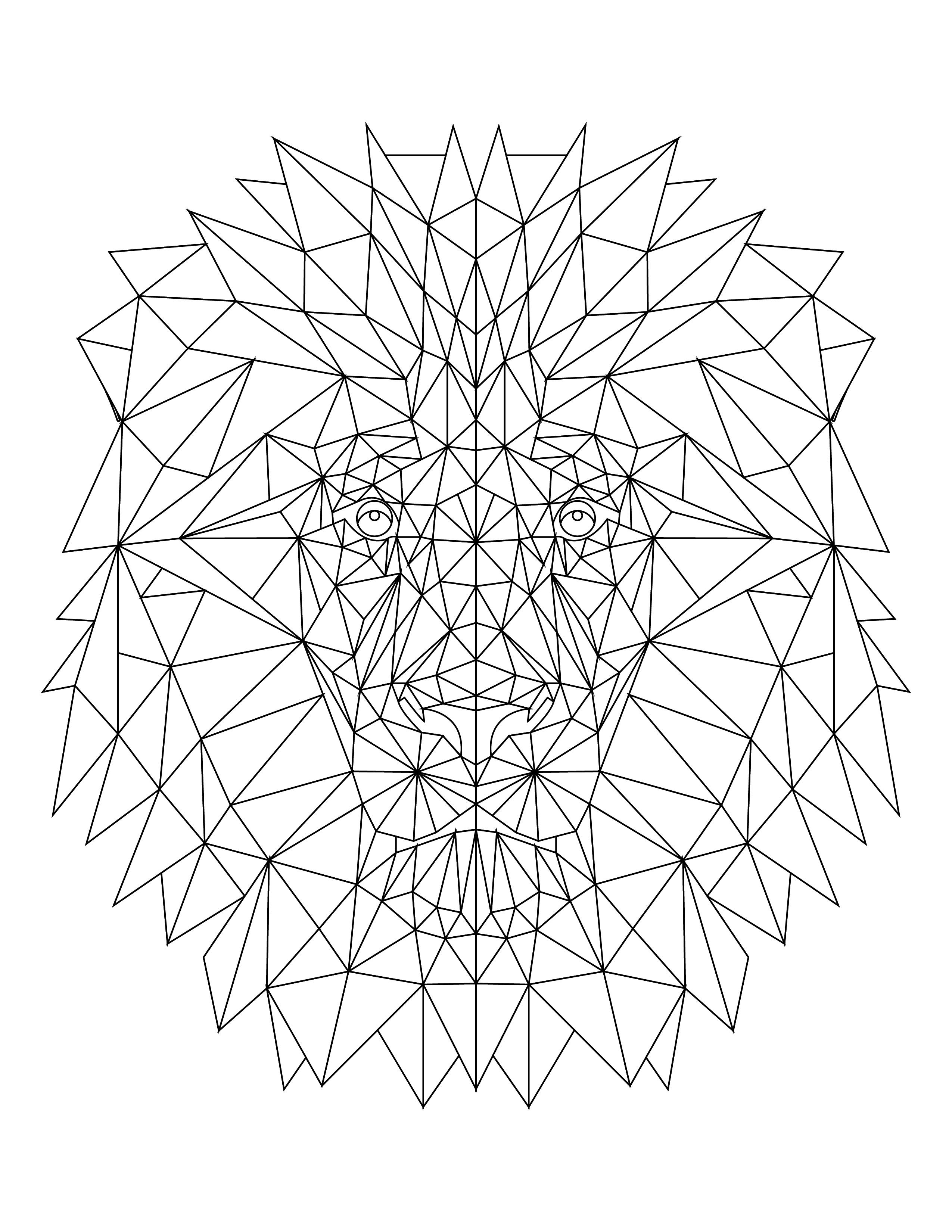 Imprimer coloriage lion triangle - Coloriages lion ...