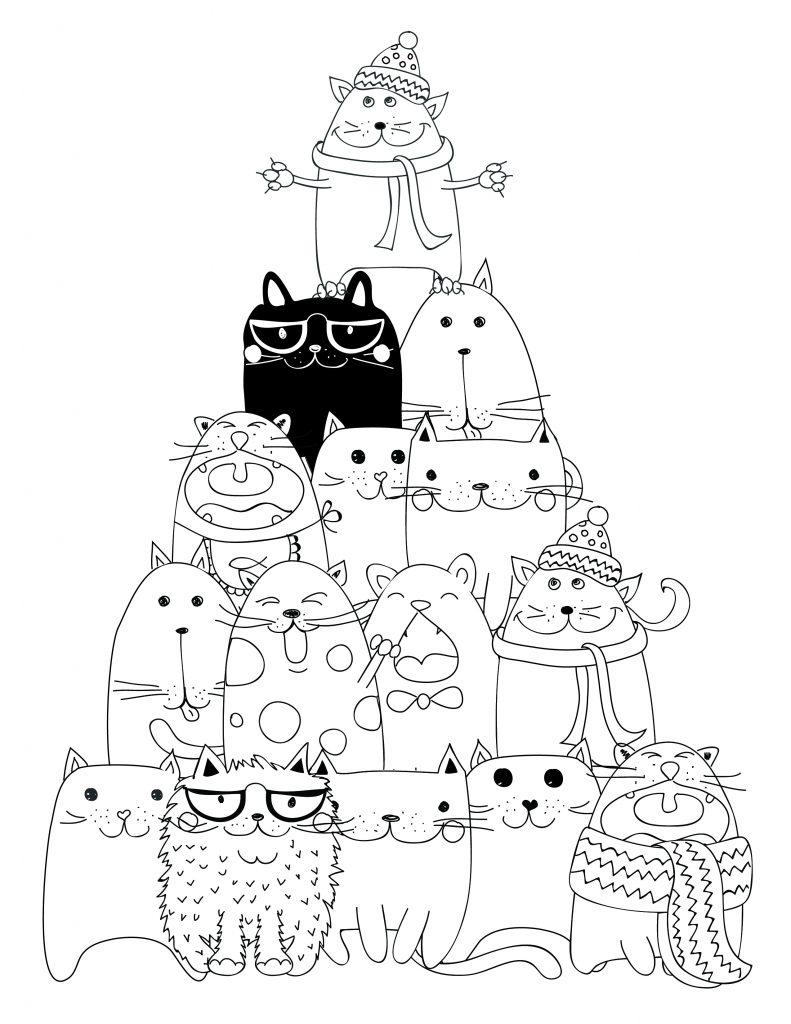 dessin à imprimer pyramide chat coloriage - Artherapie.ca