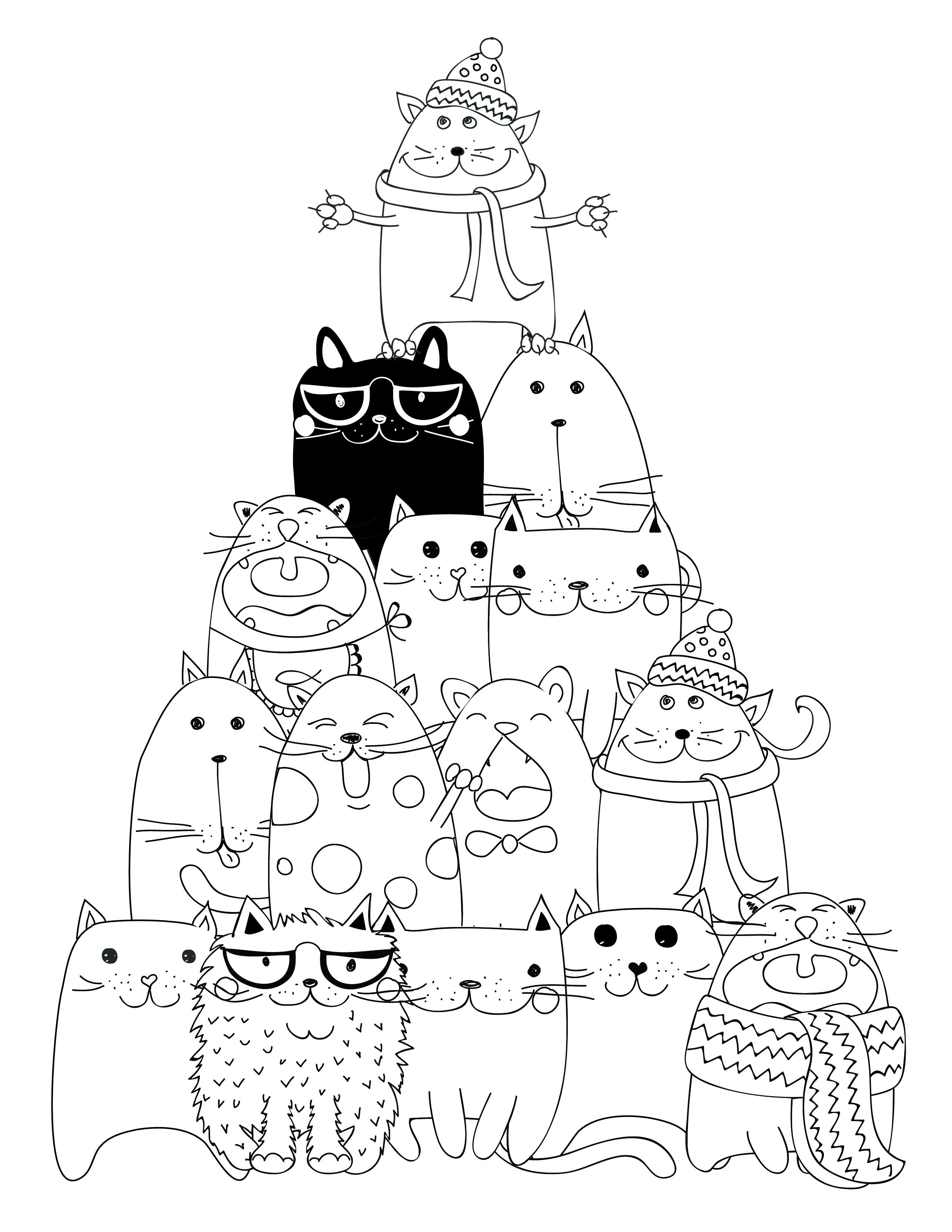 Dessin imprimer pyramide chat coloriage - Dessin de chat kawaii ...