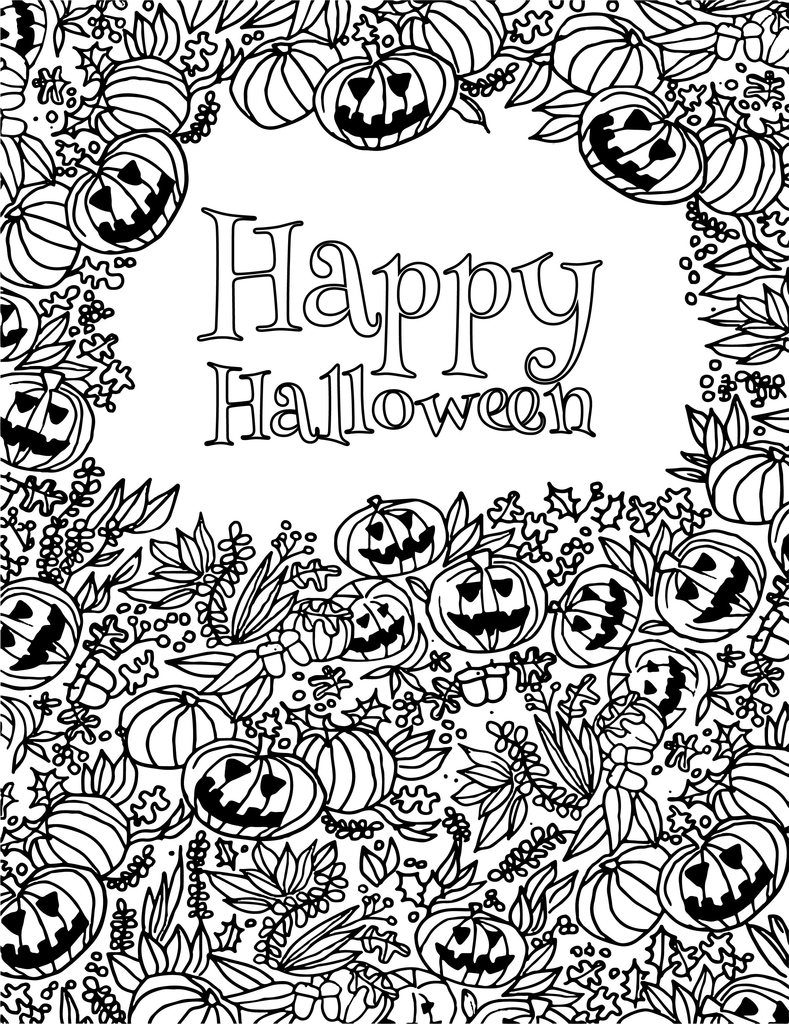 Joyeux Halloween Party coloriage 31 octobre - Artherapie.ca