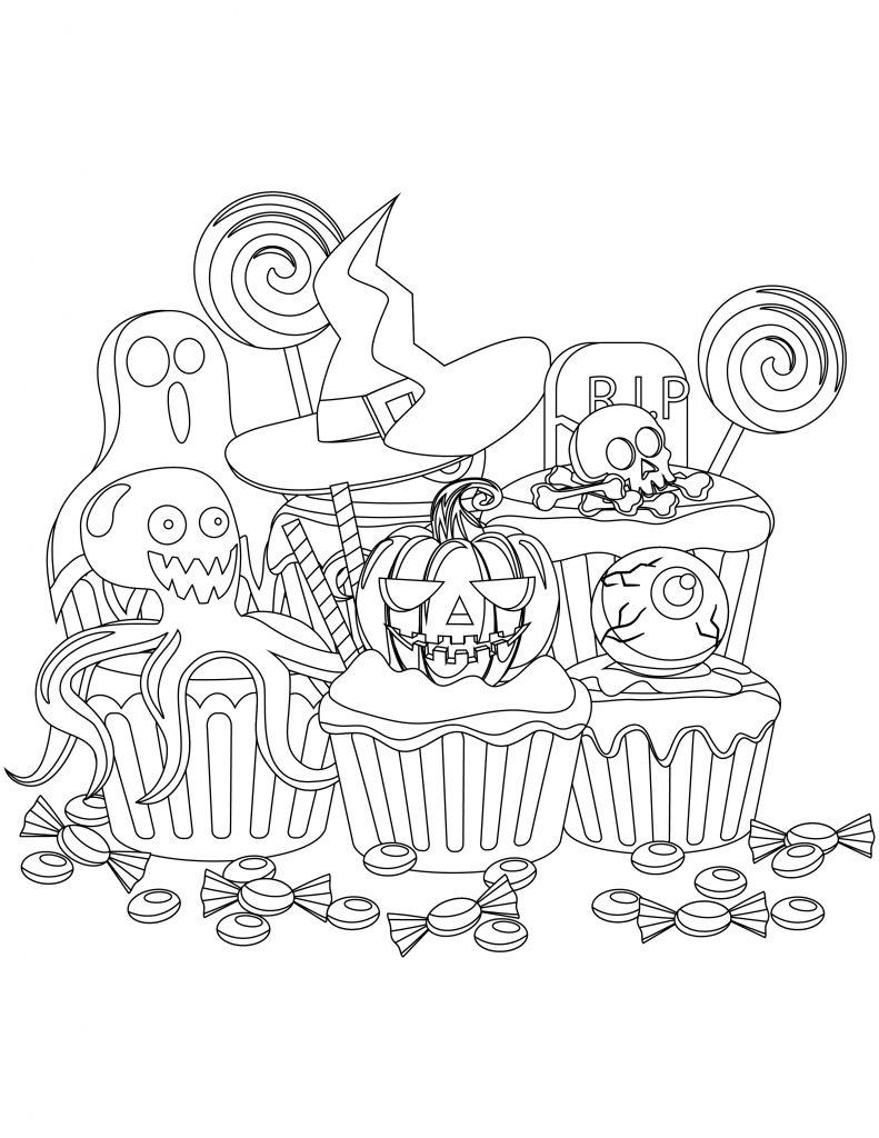 coloriage de cupcake Halloween à imprimer
