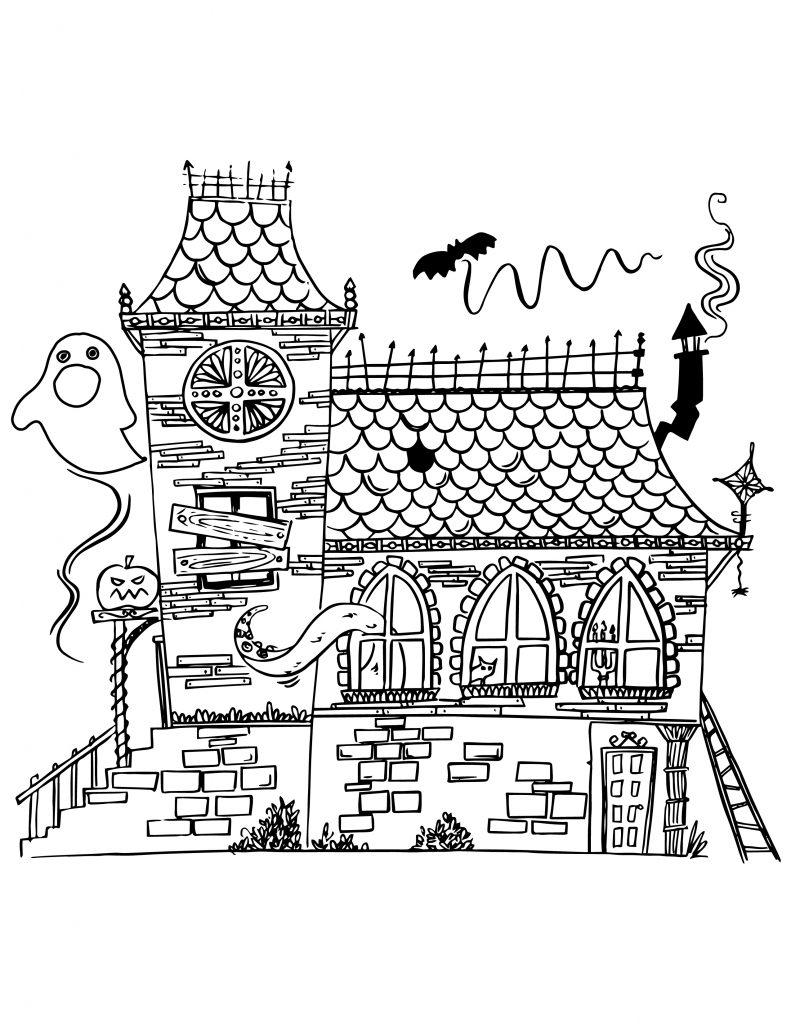 Maison hant e imprimer et colorier - Dessin de maison hantee ...