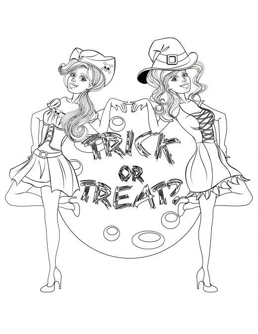 dessin filles costumes halloween à imprimer