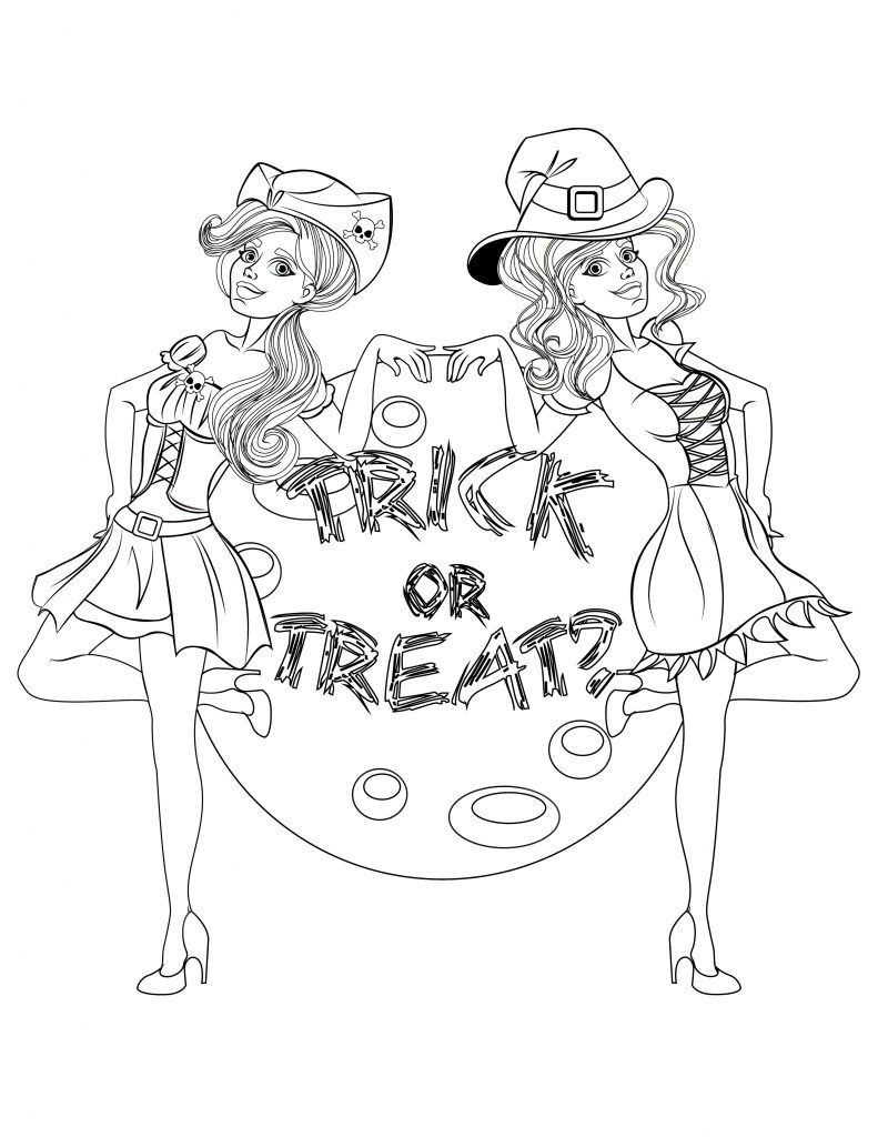dessin filles costumes halloween à imprimer - Artherapie.ca
