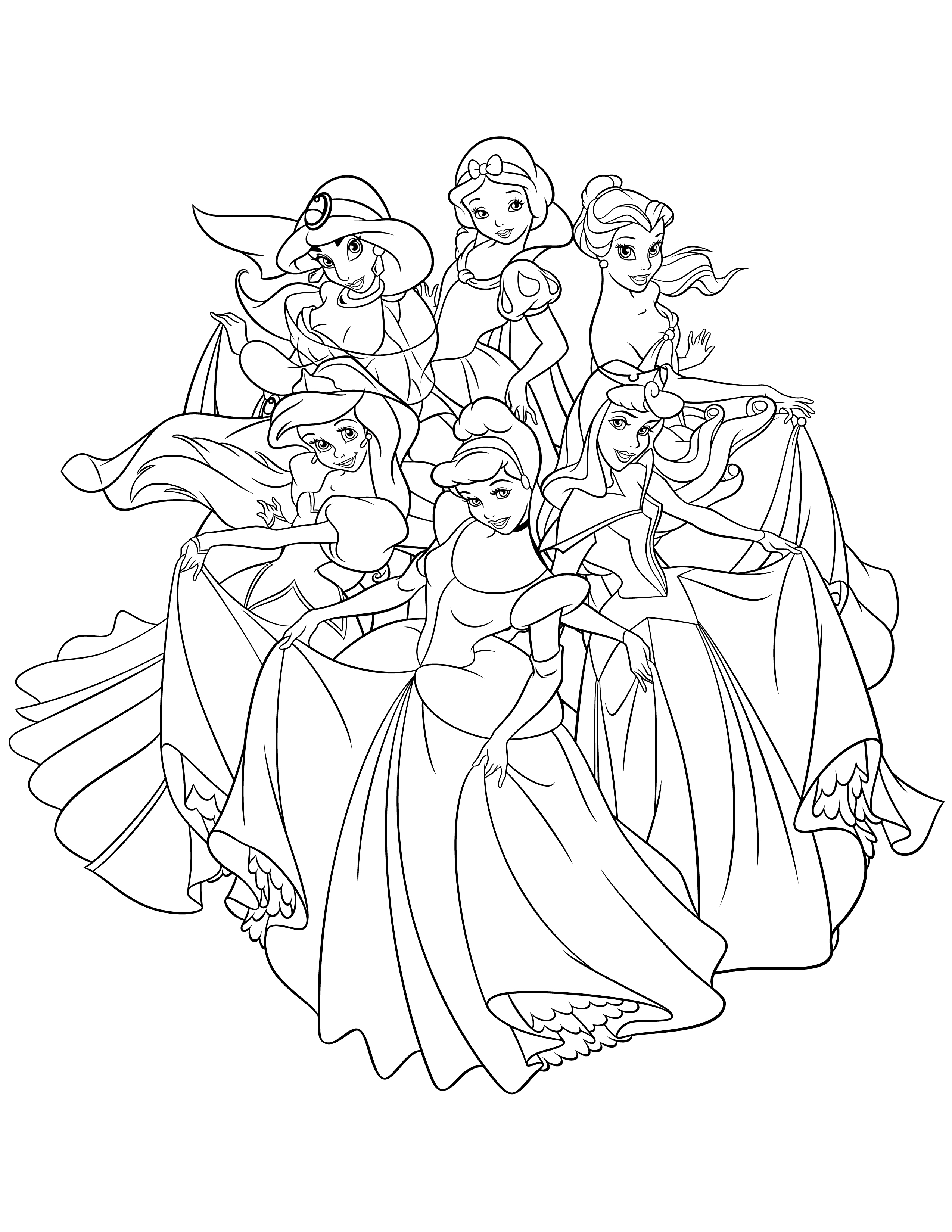 Coloriage princesses disney avec modele - Coloriage dysney ...
