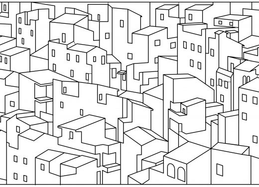 Dessin à imprimer coloriage maisons ville