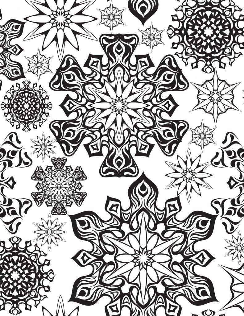 Coloriage à Imprimer Flocons Première Neige Artherapie Ca