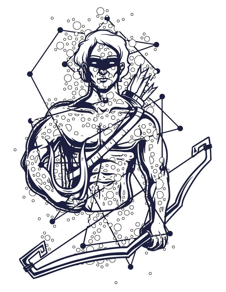 coloriage astrologie à imprimer dieux Hercule