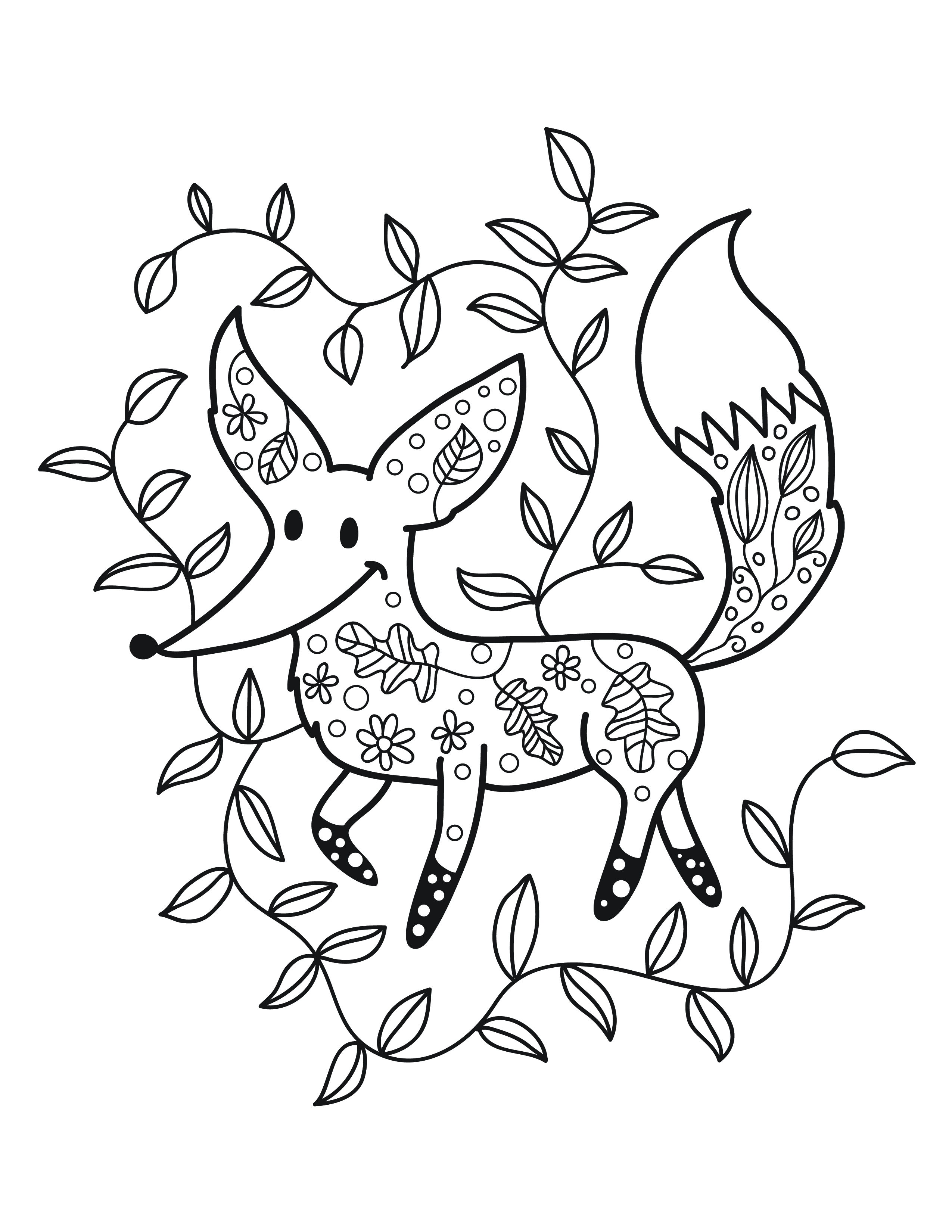 Coloriage de petit renard automne gratuit - Coloriage petit renard ...