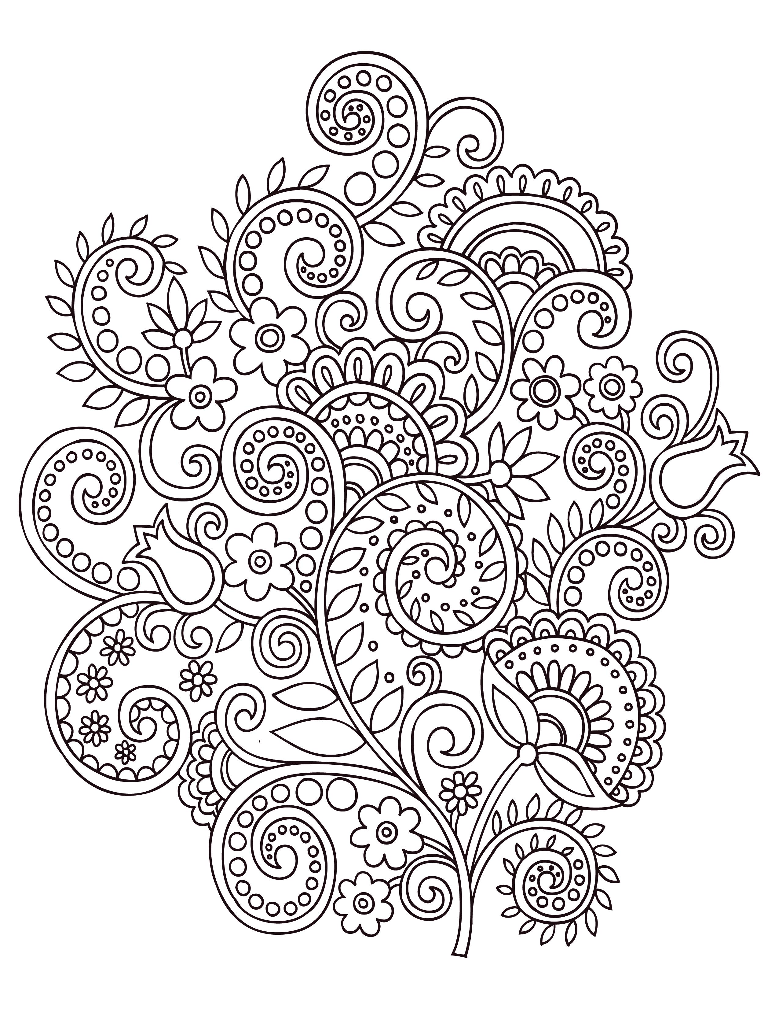 Fleurs doodle coloriage anti stress gratuit - Dessin anti stresse ...
