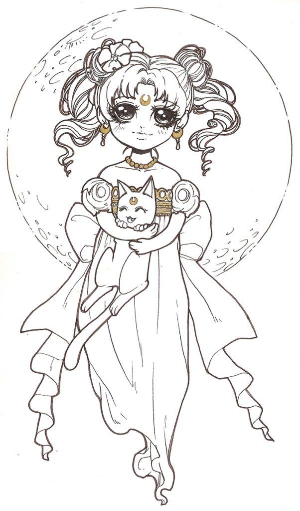 coloriage de Dar-Chan Sailor Moon serenity - Artherapie.ca