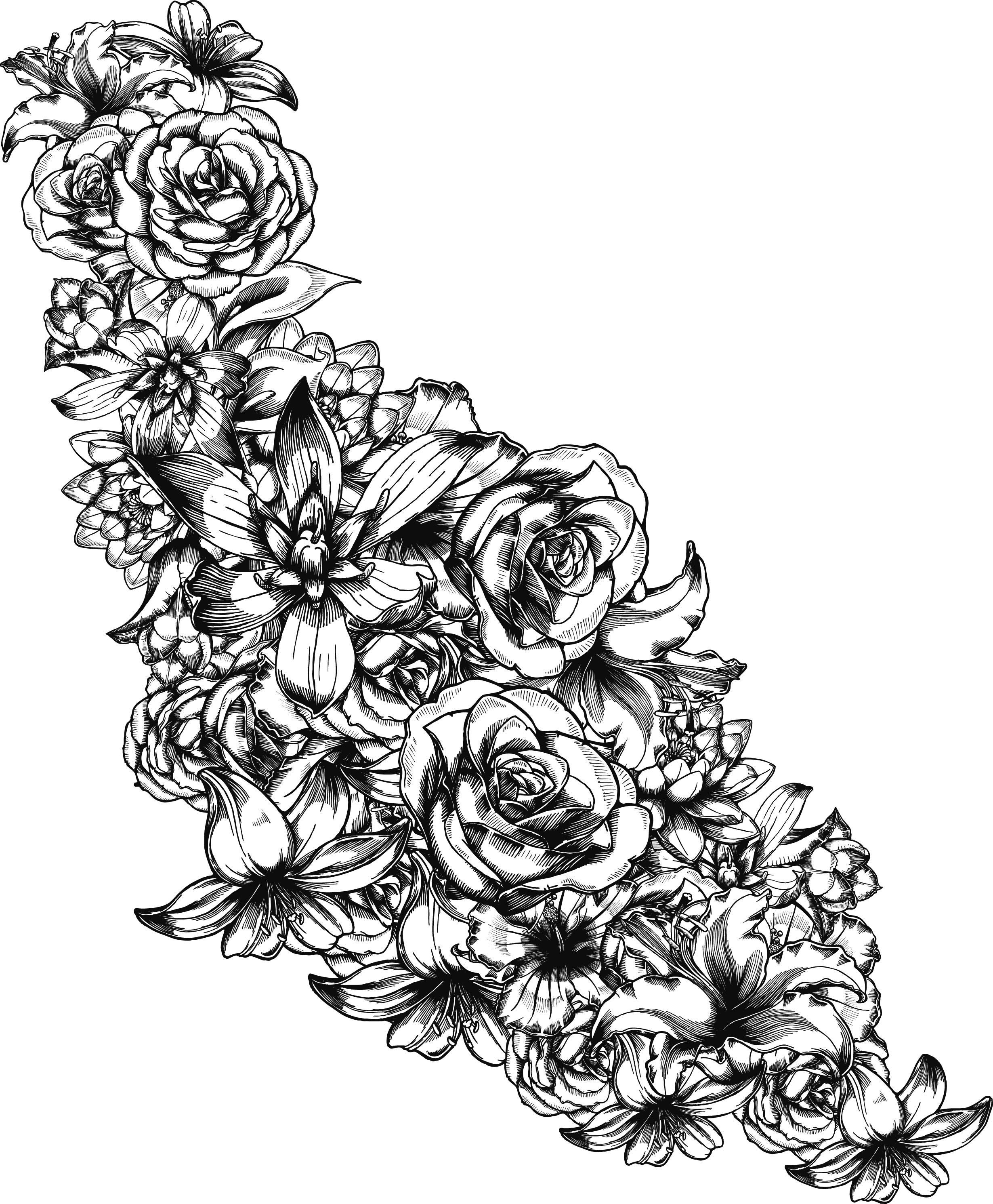 Bouquet de fleur gratuit tr s difficile colorier - Coloriage fleur tres jolie ...