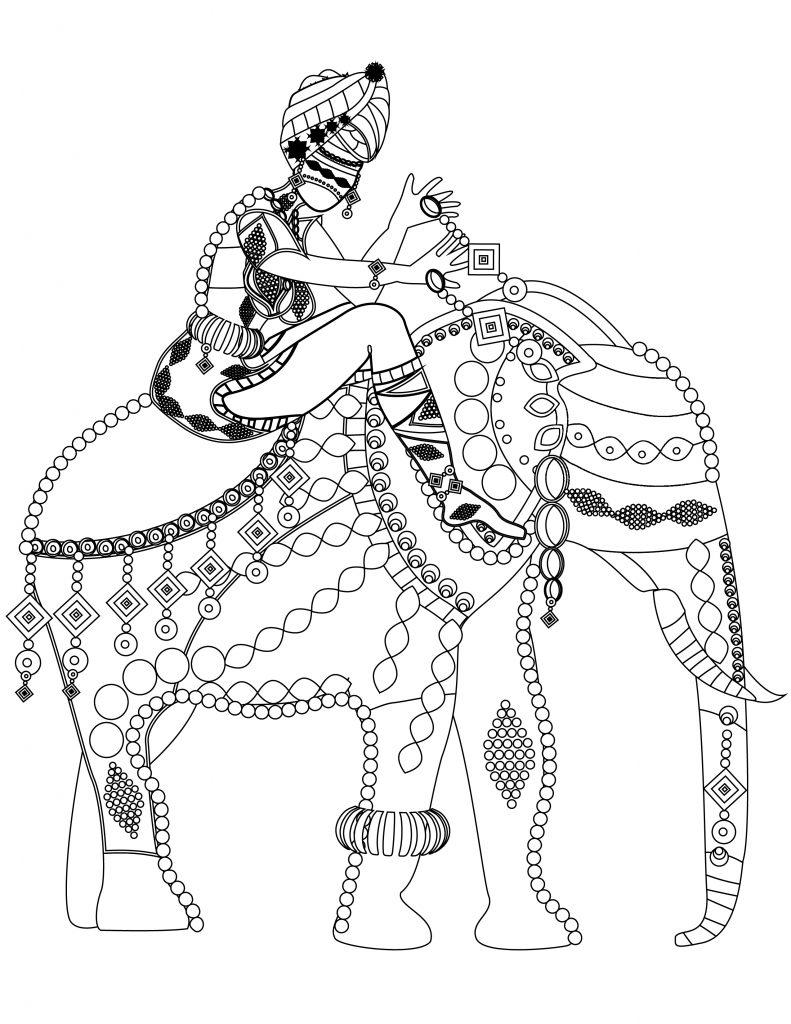 Coloriage gratuit l phant du sud de l inde - Elephant indien dessin ...
