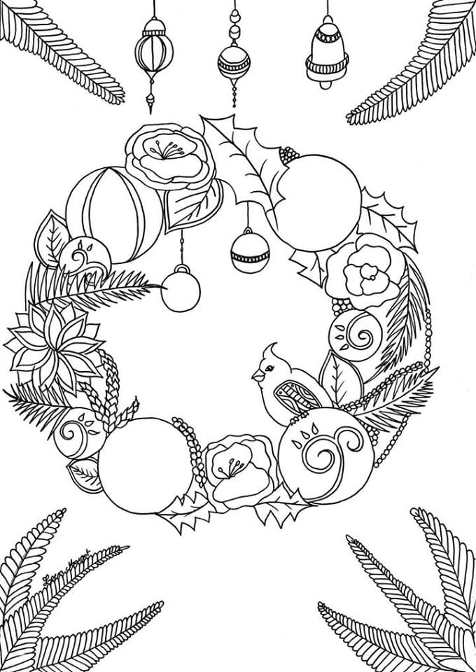 Coloriage Couronne Noël par Leen Margot
