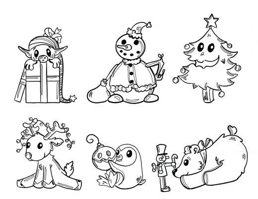 dessin des amis du père noel à imprimer gratuit