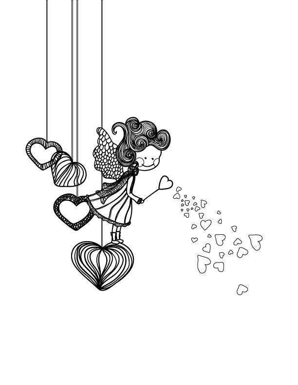 Fillette amoureuse dessin pour adulte st valentin - Coloriage fillette ...