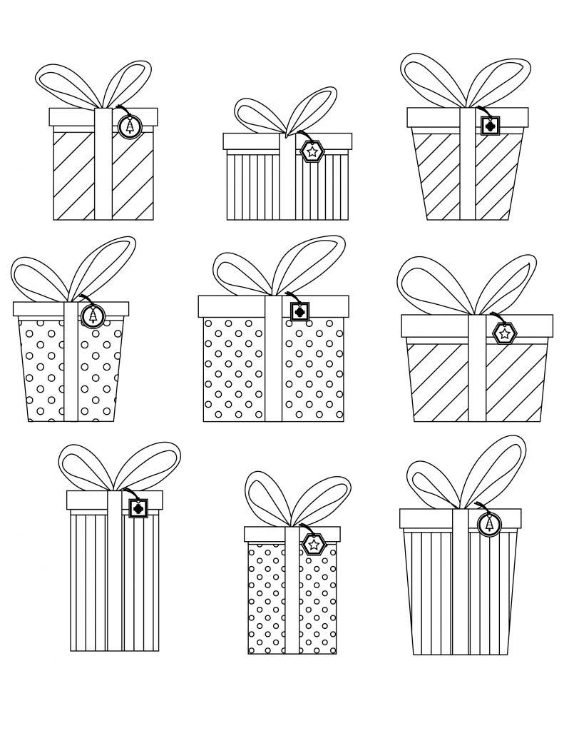 Emballage cadeaux de noel gratuit à colorier - Artherapie.ca