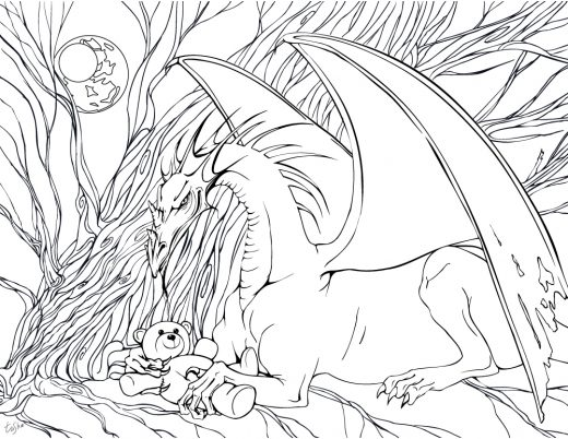 Dragon effrayant coloriage pour adulte gratuit