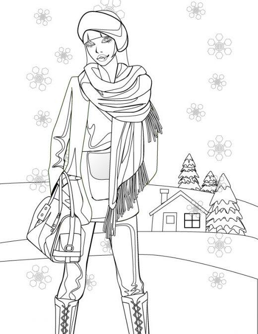 Femme mode d'hiver à imprimer et dessiner