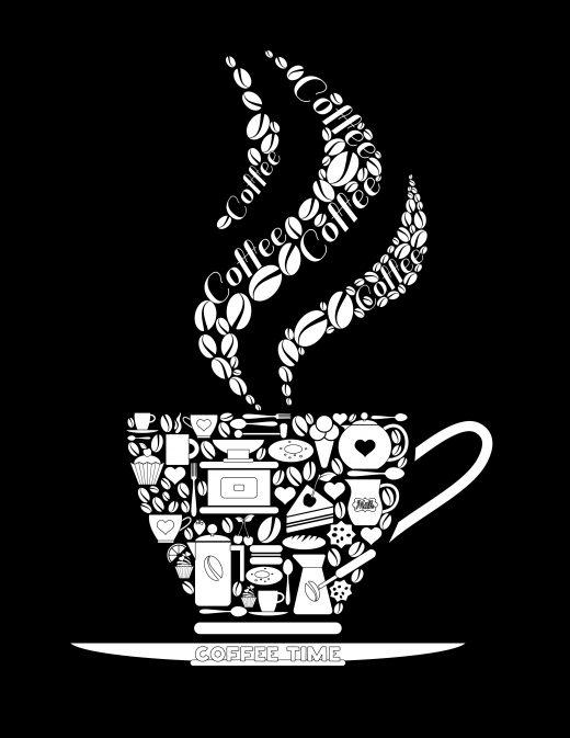 Coloriage noir image tasse de café à imprimer