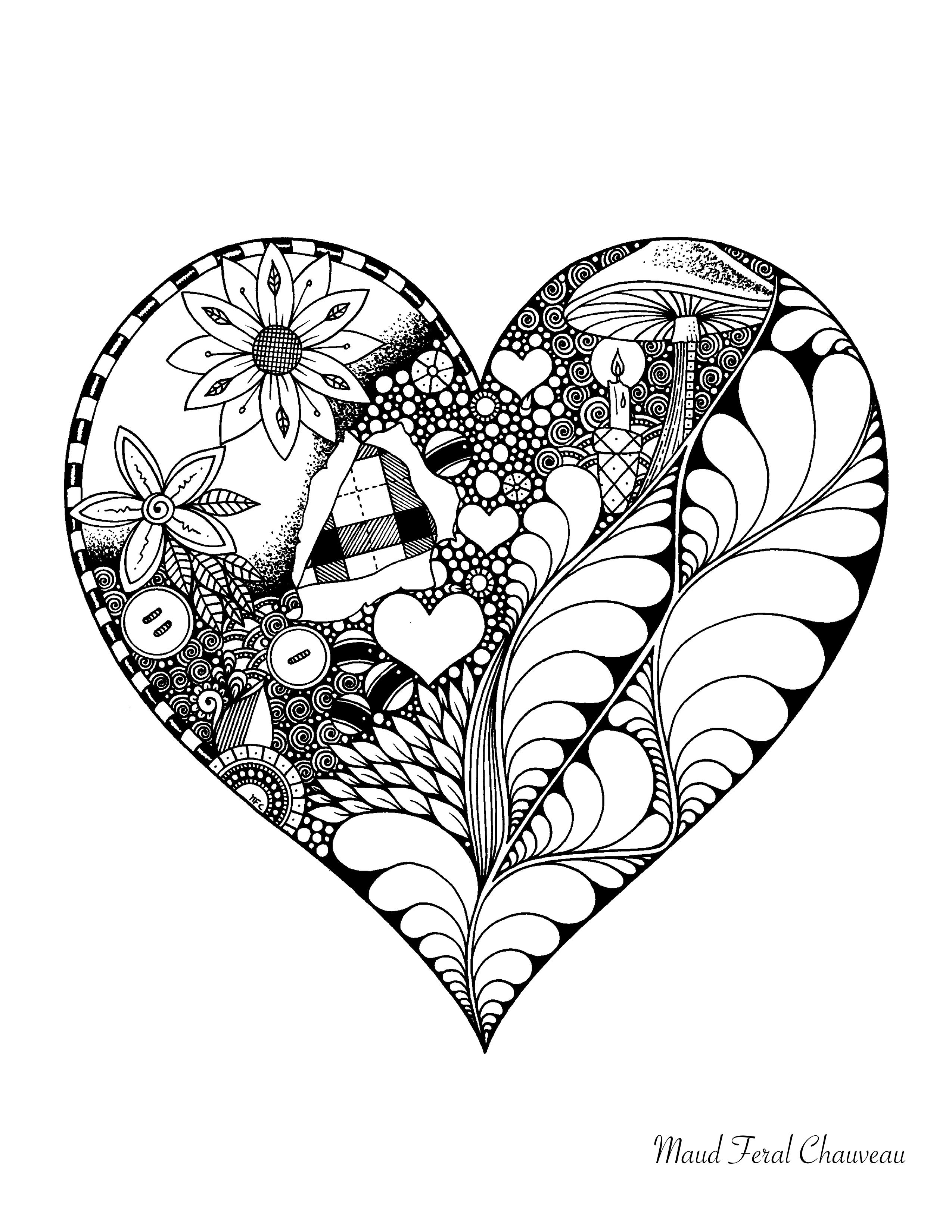 Coloriage Doodle Coeur St Valentin Par Maud Feral