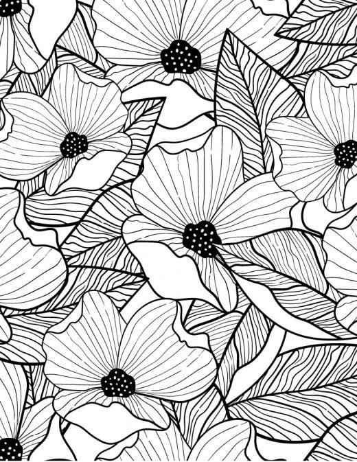 Bouquet de fleurs coquelicot coloriage difficile