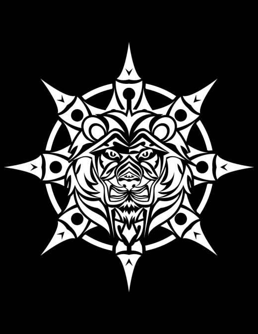 Tribal à dessiner mandala lion fond noir