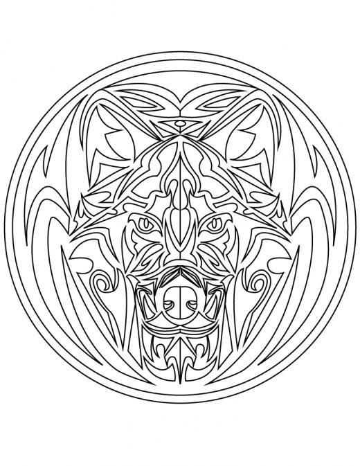 Mandala tattoo tribal loup à imprimer gratuit