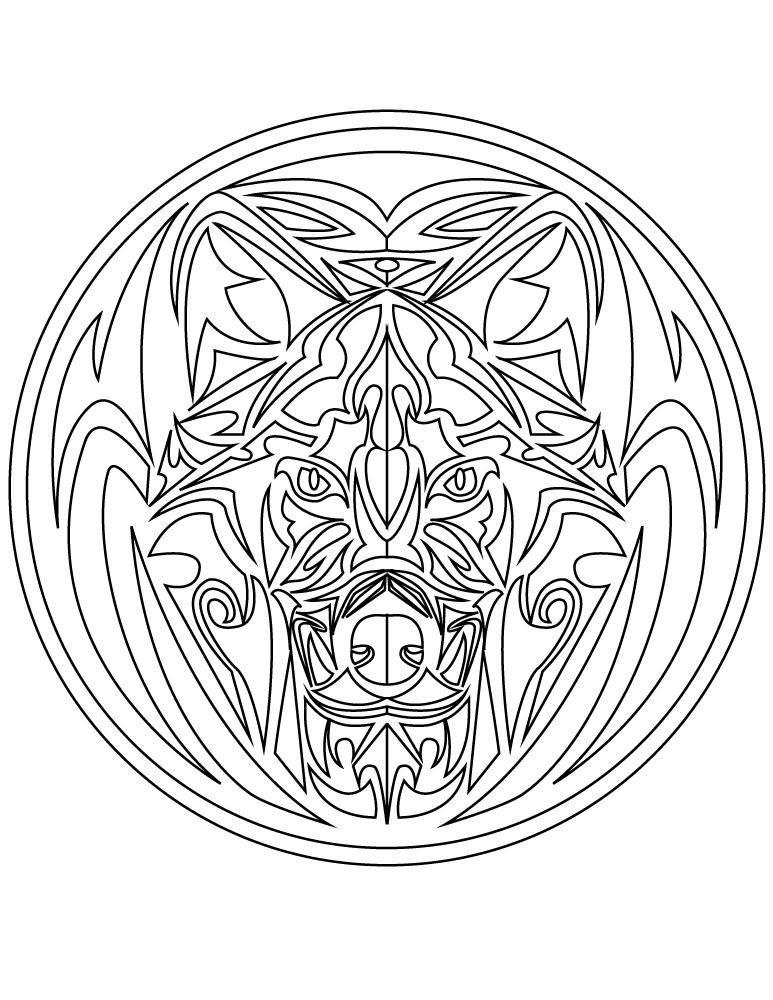 mandala tattoo tribal loup imprimer gratuit. Black Bedroom Furniture Sets. Home Design Ideas