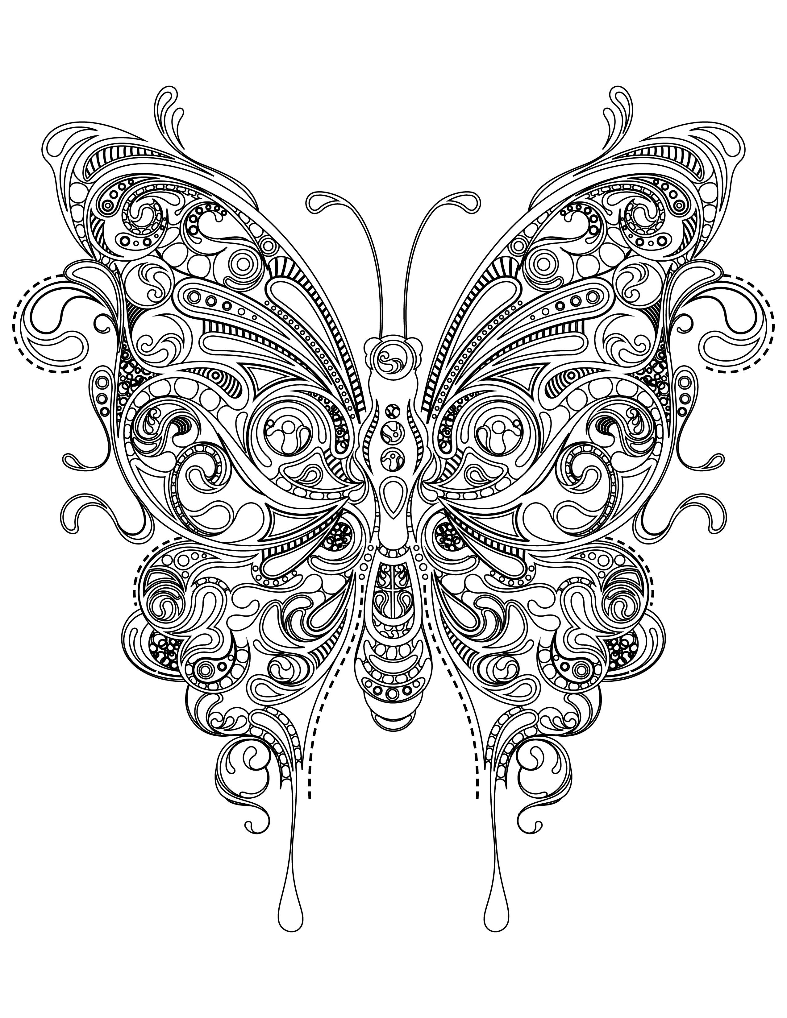 Coloriage papillon très difficile à imprimer - Artherapie.ca