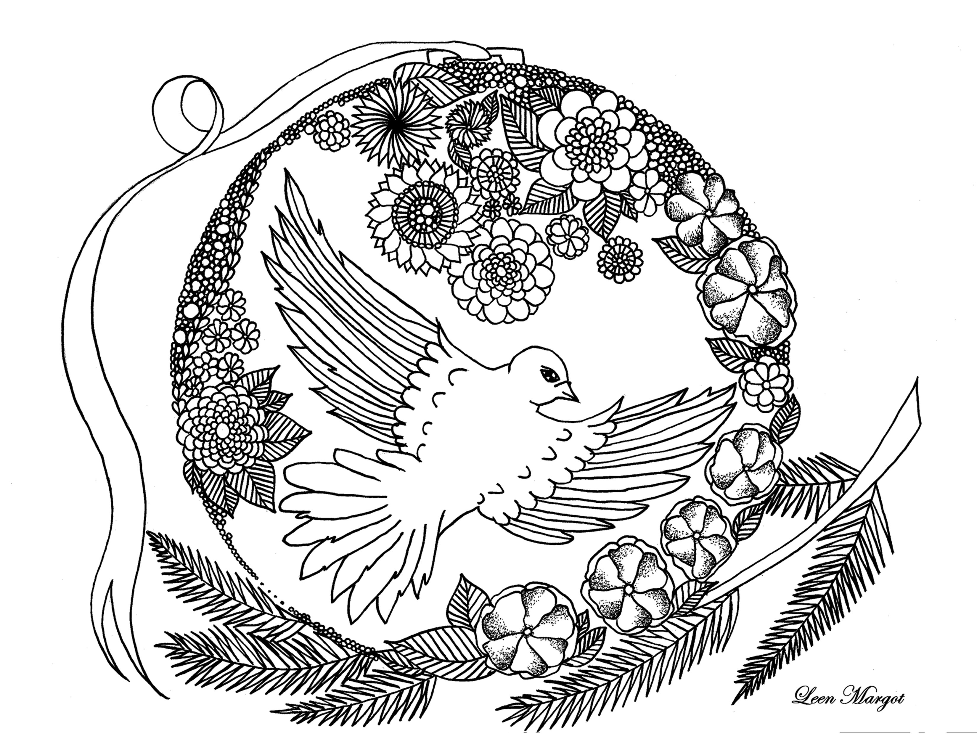 Coloriage animaux colombe par leen margot - Animaux coloriage ...