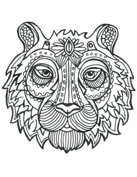 Coloriage de animaux tete de tigre à imprimer